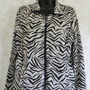 Onque Casuals Ladies Jacket Zip Front Zebra Print